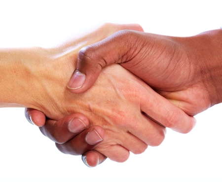 Photo for Handshake. Hands of businessman isolated on white background - Royalty Free Image