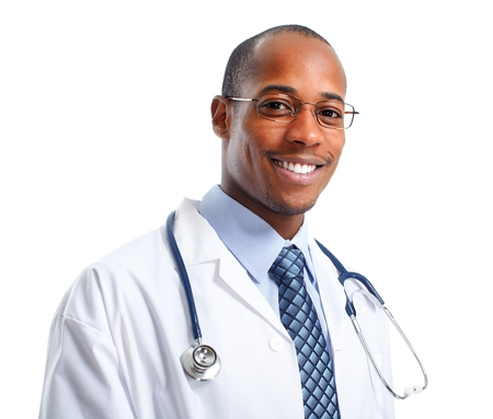 Photo for African-American Medical doctor man isolated white background - Royalty Free Image