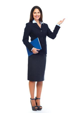 Photo pour Young business woman presenting copy space. - image libre de droit