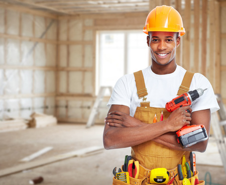 Photo for Construction worker in  new house. - Royalty Free Image