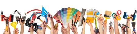 Photo pour Hands with DIY tools. - image libre de droit