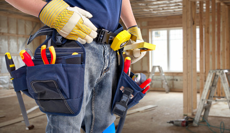 Photo for Worker with construction tools. - Royalty Free Image