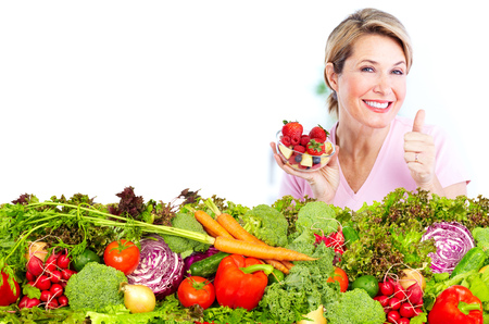 Photo for Senior woman with fresh vegetables and fruits. Healthy diet. - Royalty Free Image