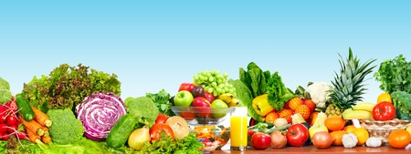 Foto per Fresh organic vegetables over blue background. Healthy diet. - Immagine Royalty Free