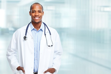 Photo for Medical physician doctor man over hospital background. - Royalty Free Image