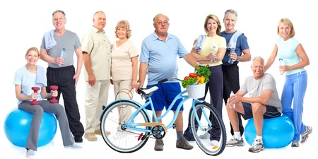 Group of elderly fitness people with bicycle isolated white background.