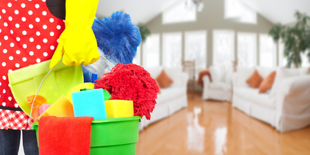 Photo for Maid hands with cleaning tools. House cleaning service concept. - Royalty Free Image