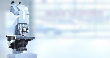 Scientific microscope in laboratory. Health care background.