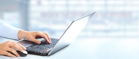 Photo for Hands of business woman typing on computer keyboard. - Royalty Free Image
