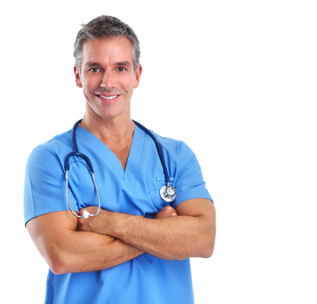 Photo pour Young medical doctor man isolated over white background. - image libre de droit