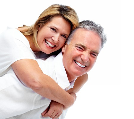 Photo for Happy laughing elderly couple isolated white background. - Royalty Free Image