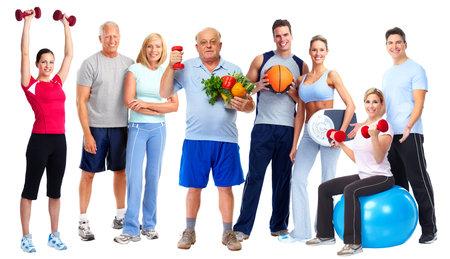 Foto de Group of healthy fitness people isolated over white background. - Imagen libre de derechos
