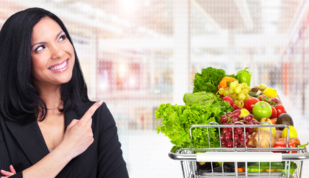 Foto für Asian woman and grocery shopping cart with fruits and vegetables. - Lizenzfreies Bild