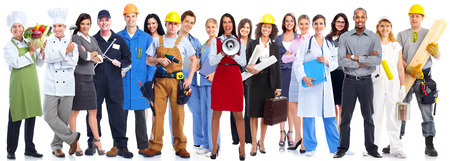 Photo pour Group of workers people isolated over white background. - image libre de droit