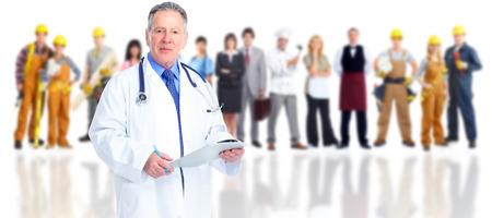 Photo for Senior doctor over family people group background. - Royalty Free Image
