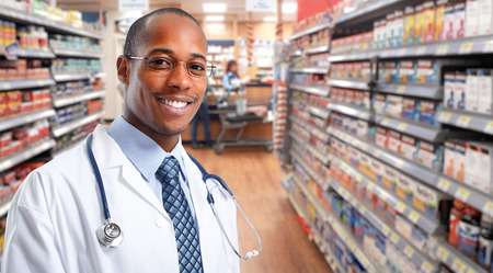 African-american pharmacist over pharmacy background.