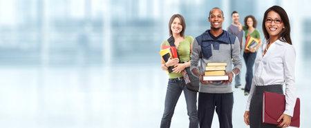 Photo pour Group of young smiling students. Education concept background. - image libre de droit
