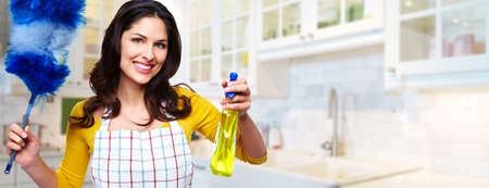 Photo for Young professional Housemaid woman. Cleaning service background. - Royalty Free Image