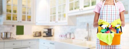 Foto de Young professional Housemaid woman. Cleaning service background. - Imagen libre de derechos