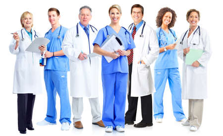 Photo pour Group of medical doctors and nurses isolated on white background. - image libre de droit