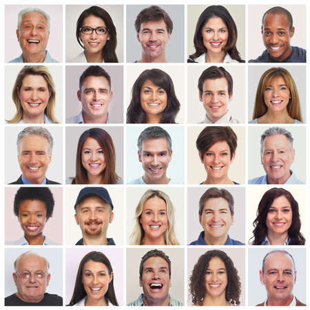 Photo for Collection of smiling faces. Set of people. Men, women, seniors diversity. - Royalty Free Image
