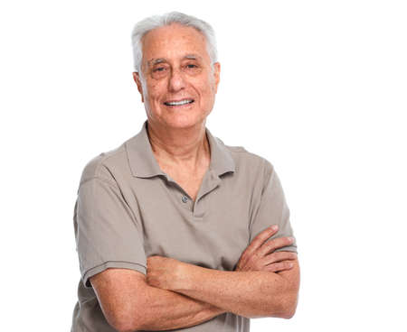 Photo for Smiling elderly man portrait isolated over white background. - Royalty Free Image