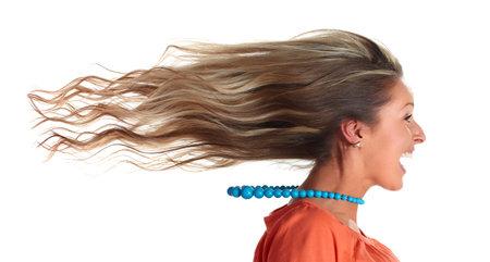 Foto de Young happy funny laughing girl head long hairs. - Imagen libre de derechos