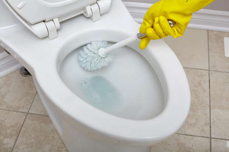 Foto de Flush toilet bowl cleaning with a brush in bathroom. - Imagen libre de derechos