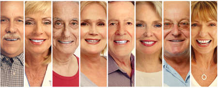 Photo for Set of smiling senior faces collection. Old people group. - Royalty Free Image