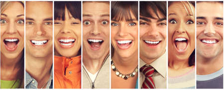 Foto de Set of happy laughing faces. People collection. - Imagen libre de derechos