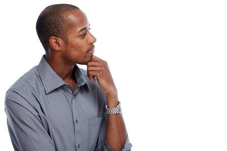 Photo pour Thinking idea African-american man portrait isolated white background. - image libre de droit