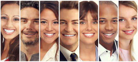 Photo for Set of happy laughing people. Smiling faces collection. - Royalty Free Image