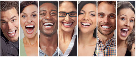 Foto de Set of happy laughing people. Smiling faces collection. Teeth whitening - Imagen libre de derechos