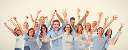 Photo for Large group of happy people. Smiling, laughing men and women - Royalty Free Image