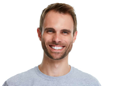 Photo for Smiling handsome man smile isolated over white background. - Royalty Free Image