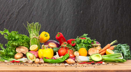 Foto per Organic vegetables variety on the table in kitchen - Immagine Royalty Free