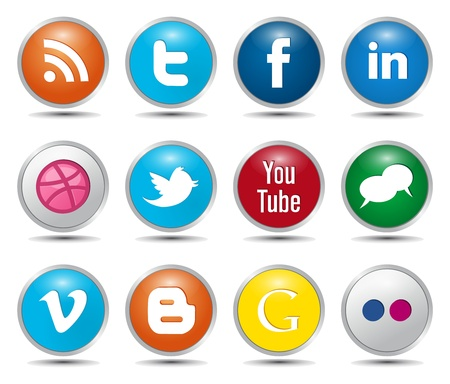 Photo for Color Social Media Icons – Glossy Buttons - Royalty Free Image