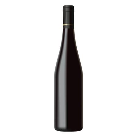 Illustration pour Black wine bottle isolated on white background, realistic illustration - image libre de droit