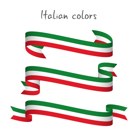 Illustration pour Set of three modern colored vector ribbon with the Italian tricolor isolated on white background, abstract Italian flag, Made in Italy logo - image libre de droit
