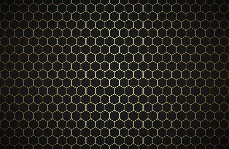 Illustration pour Geometric polygons background, abstract black and gold metallic wallpaper, simple vector illustration - image libre de droit