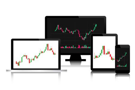 Illustration pour Set of modern digital tech devices with candlestick chart on the screen isolated on white background, trading graphic budiness concept, financial stock market - image libre de droit