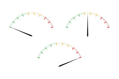 Illustration pour Set of simple vector tachometers with indicators in red, yellow and green part,  speedometer icon, performance measurement symbol isolated on white background - image libre de droit