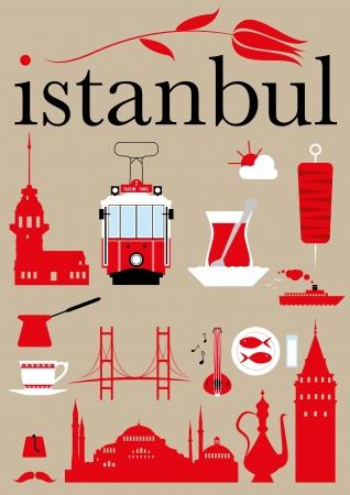 Illustration pour Istanbul Pictograms Set  - image libre de droit