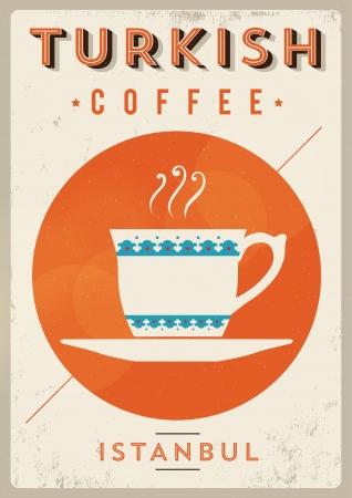 Illustration pour Vintage Turkish Coffee Poster  - image libre de droit
