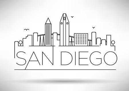 Illustration pour Linear San Diego City Silhouette with Typographic Design - image libre de droit
