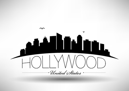 Illustration pour Vector Hollywood City Skyline Design - image libre de droit