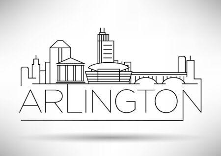 Illustration pour Minimal Arlington City Linear Skyline with Typographic Design - image libre de droit
