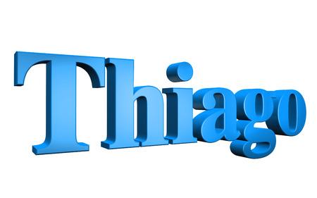 3D Thiago text on white background