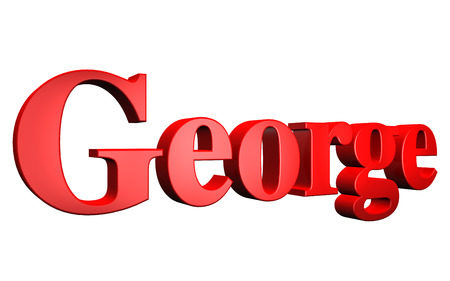 3D George text on white background