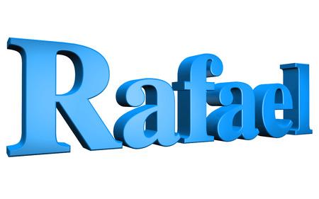 3D Rafael text on white background